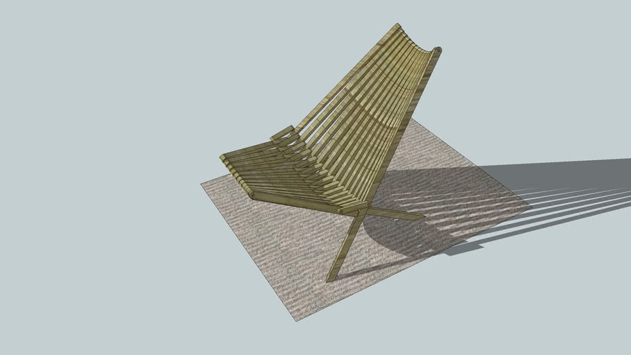 Folding wooden slat chair
