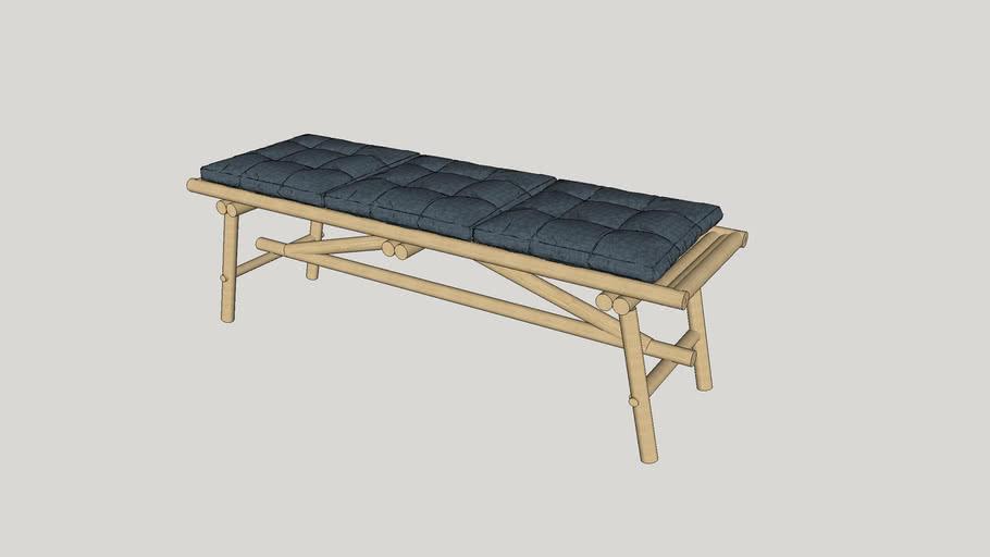 Rattan Bench with Shibori Cushions