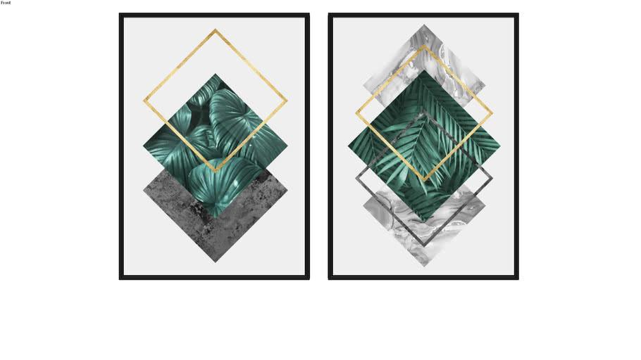 Quadros Floral e Geométrico e Floral e Geométrico I