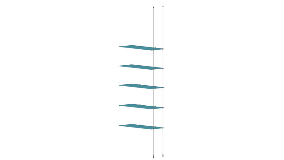 Cable Ceiling to Floor 5 Glass Shelves - Add-on Unit