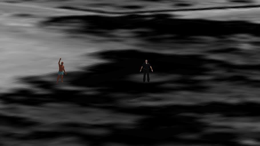 hombres en la laguna