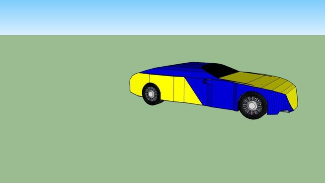 Blue yellow car