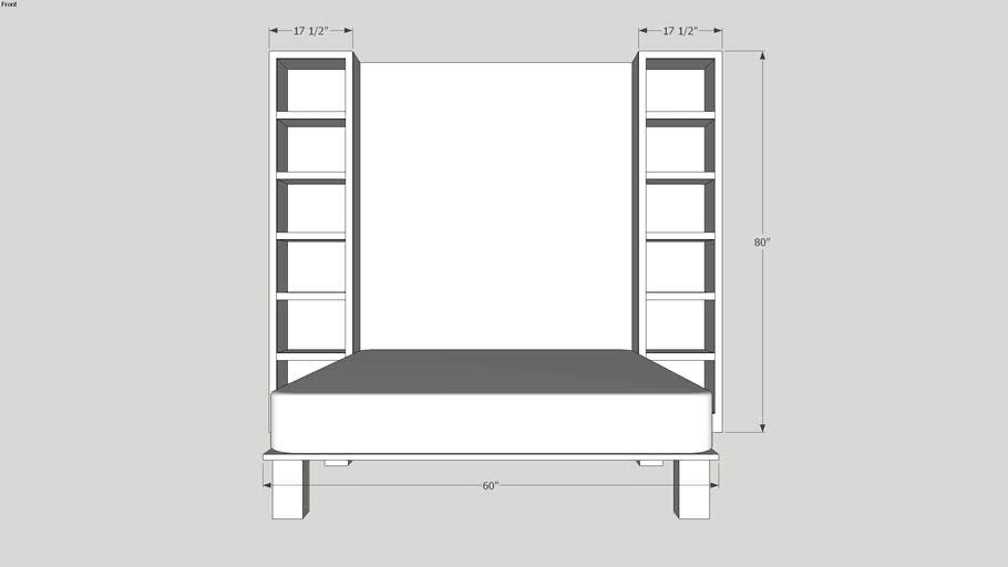 Queen Bed 60x80 Max Storage Cabinet