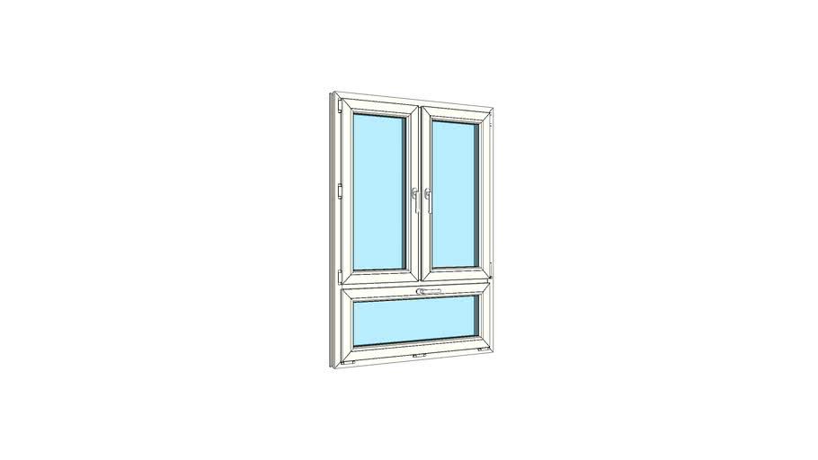 Окно двухстворчатое с одинарной нижней фрамугой VEKA Softline 82