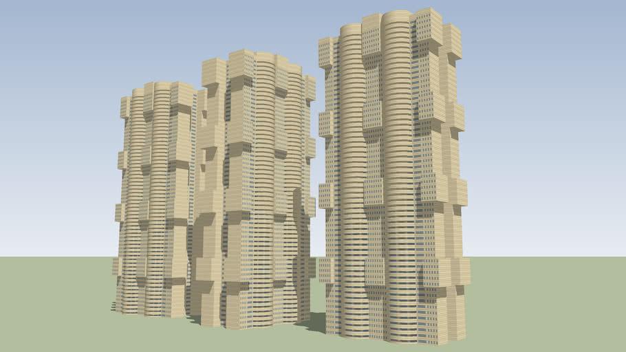 CITY/TOWN/DOWNTOWN/FLATS/HIGHRISE BUILDINGS/SKYSCRAPERS/BRUTALIST SOCIALIST STYLE/HOUSINGBLOCK
