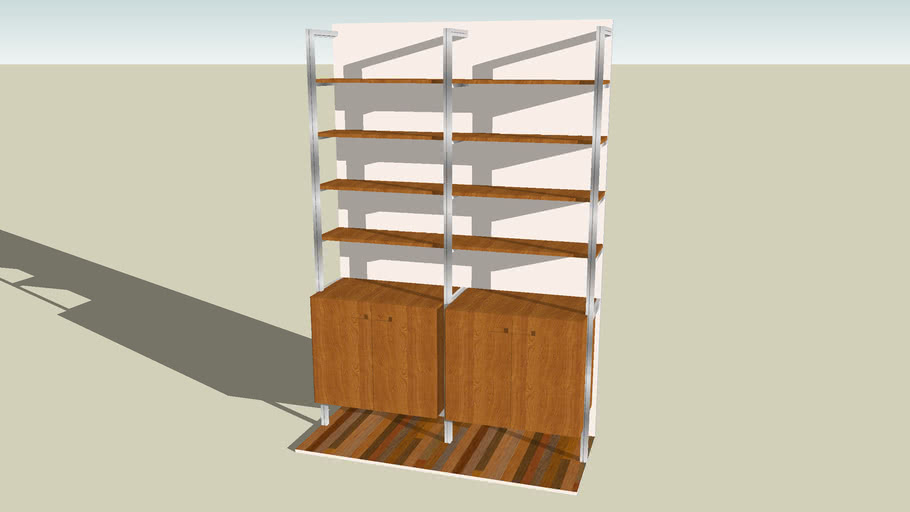 Wall Mounted Bookshelf With Storage Cabinets By Smart Furniture 3d Warehouse