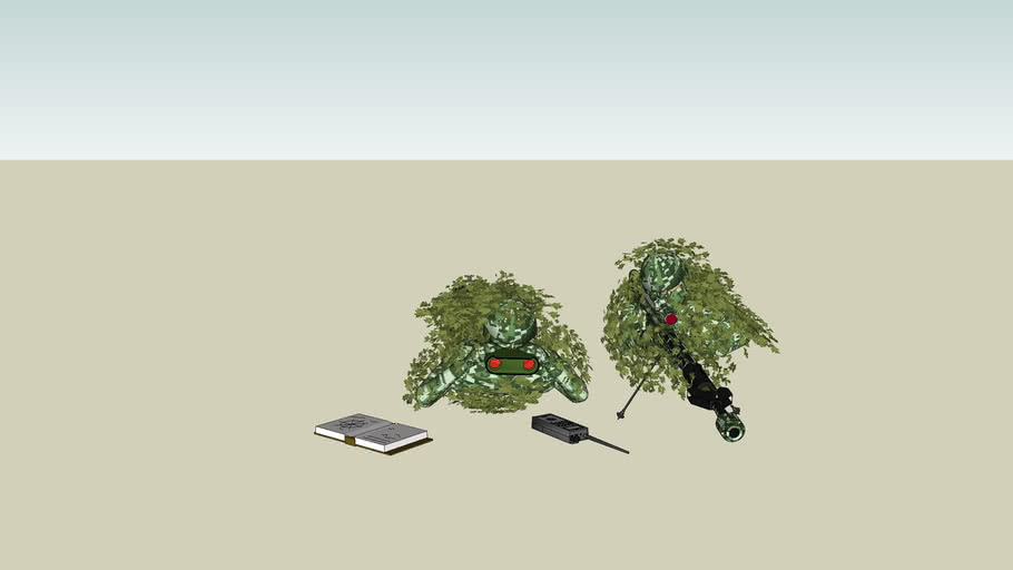 Sniper with spotter in ghillie suit