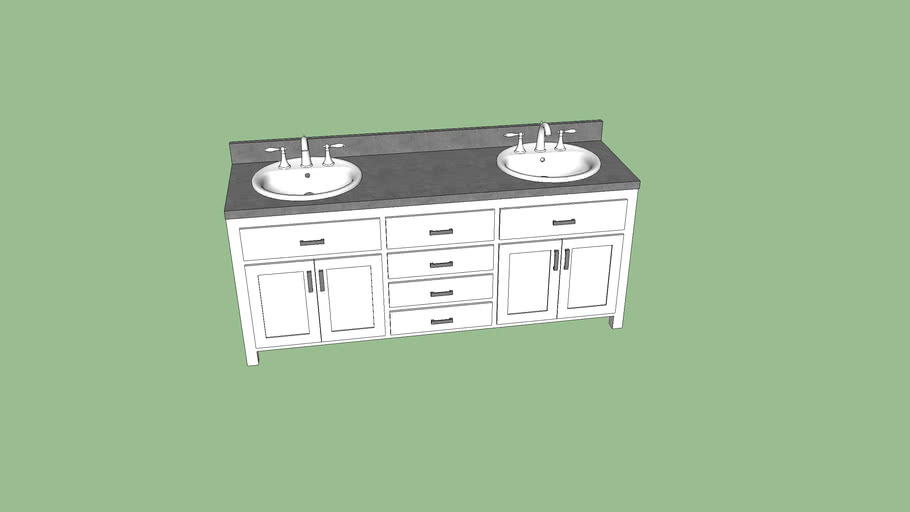 Contemporary Office Interior Design, 6 White And Gray Double Sink Bathroom Vanity 3d Warehouse
