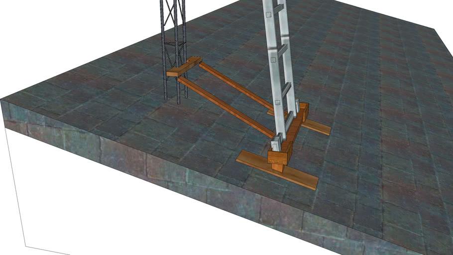 Soporte para apoyar escalera sobre tejado de pizarra.