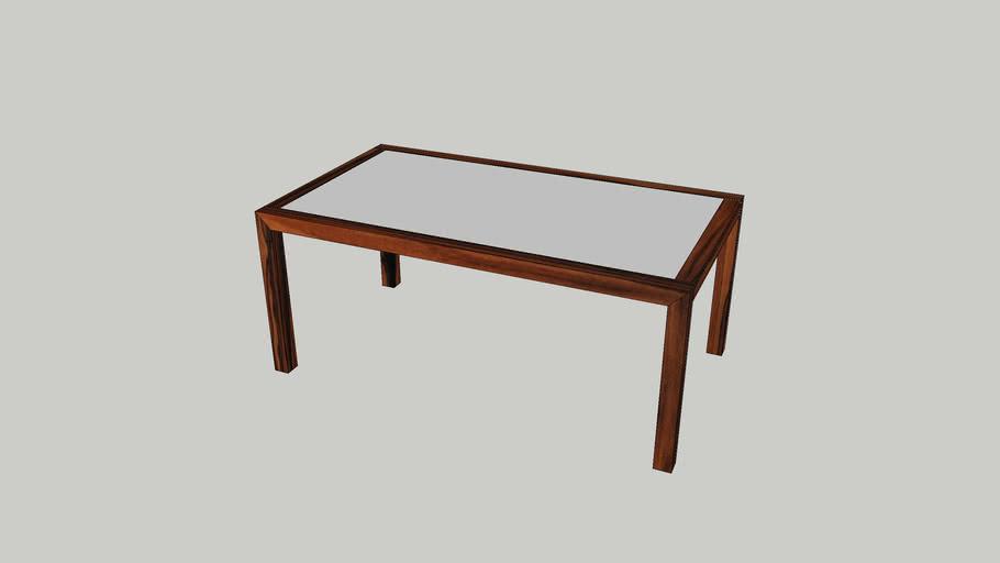 Mesa refeição Nice 1800 palissandro tampo vidro branco