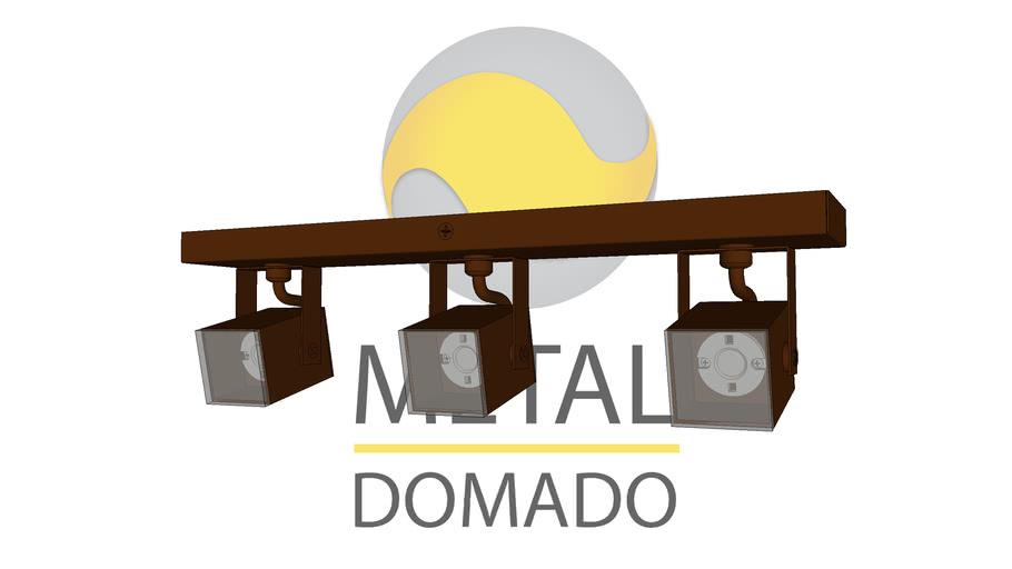 SPOT MINI QUADRADO TRIPLO 11366 - METAL DOMADO ILUMINAÇÃO