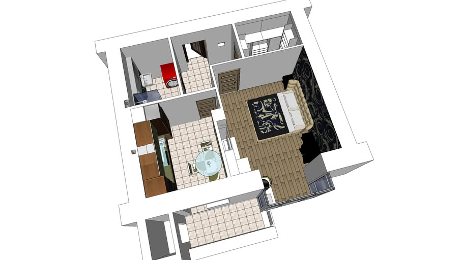 Apartment Is 46 Square Meters 3d Warehouse