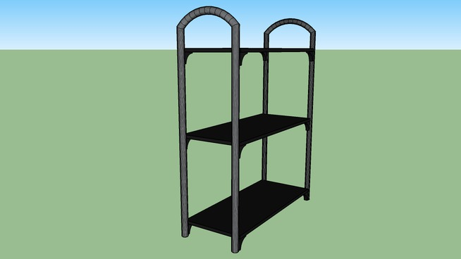 3 Tier bookshelf with silver/gray curved top poles