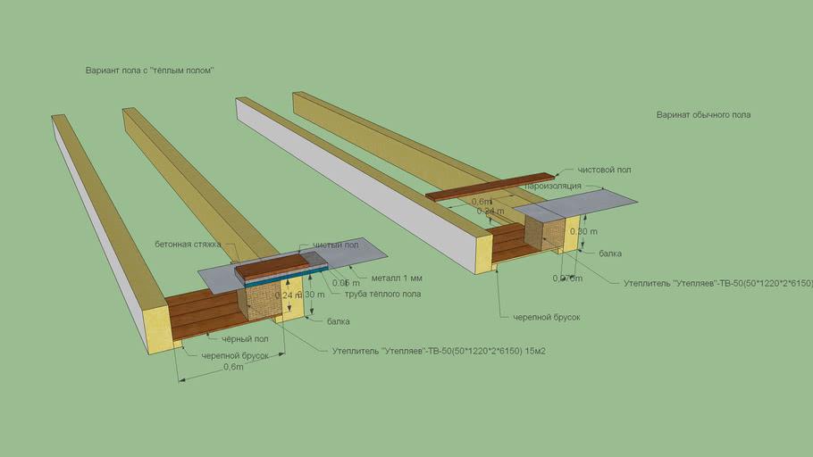 Утепление деревянного пола по балкам