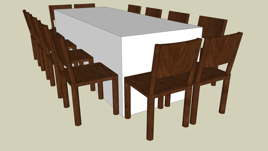 3' x 8' with 12 chairs