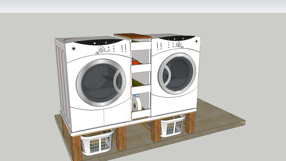 Washer Dryer Stand With Basket Storage 3d Warehouse