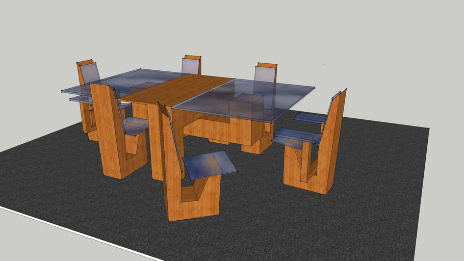 Dining Table Bamboo And Smoked Glass 3d Warehouse