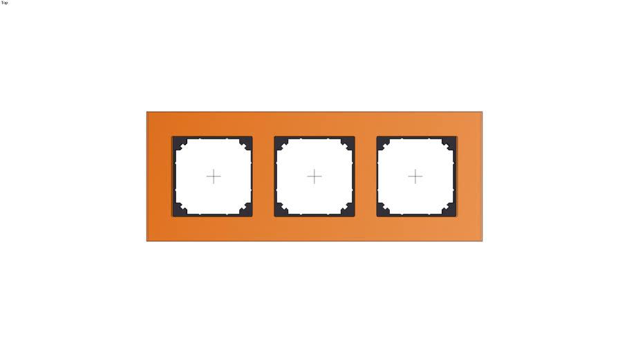 Real glass frame, 3-gang, Calcite orange