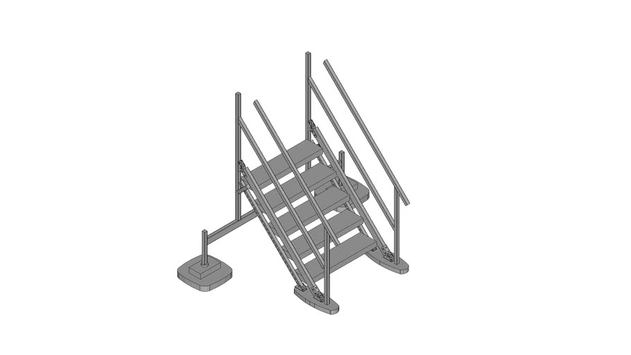 Walraven BIS Yeti® -  (HS-type) high stairs module to combine with Straight Platform, H100_W100_A45