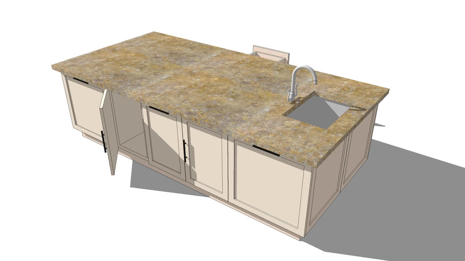 Granite/Marble top kitchen island with basin