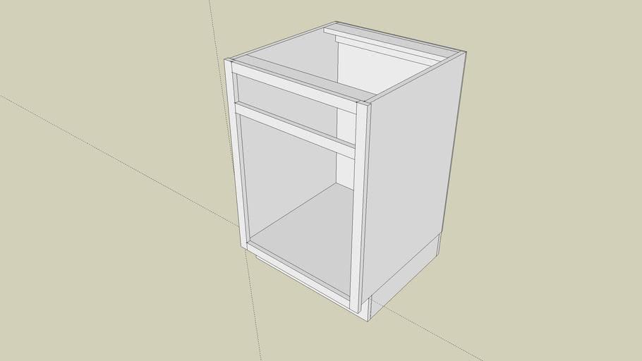 Single Drawer Base Cabinet: Pedestal Base, Flush-Mounted Back Panel