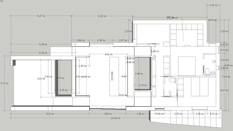 Casa VvV 3 levels version 3 værelser mål walk-inn 153 m2 grundplan.skp