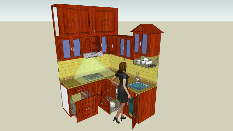 Kitchen With Wooden Cabinet For Small Flat 3d Warehouse