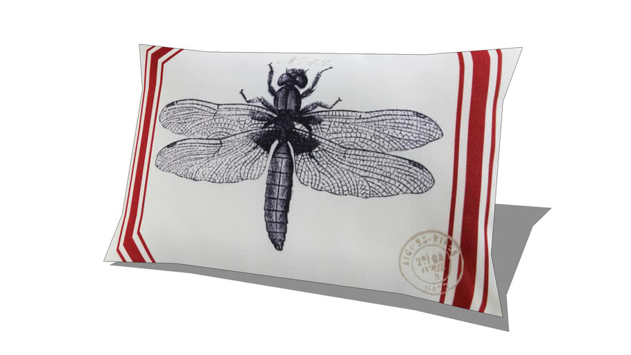Coussin de jardin en tissu imprimé libellule 30x50 MARRA REF 167333 PRIX 17.90€