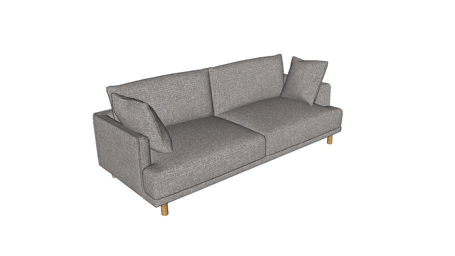 RAOUL - Canapé 3 places en coton et lin gris clair
