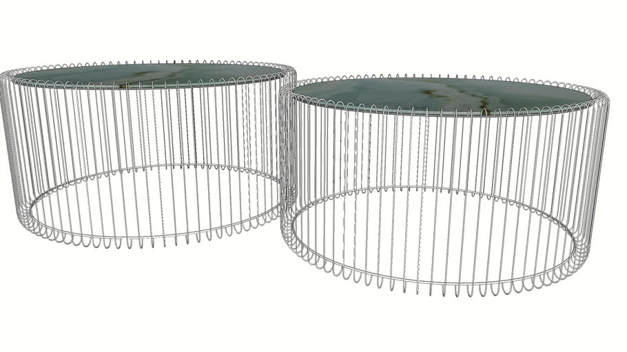 84427 Coffee Table Wire Glass Marble White (2-Set)