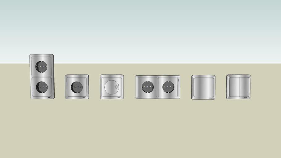 Merten stopcontacten schakelaars RVS imitatie RFS looklike