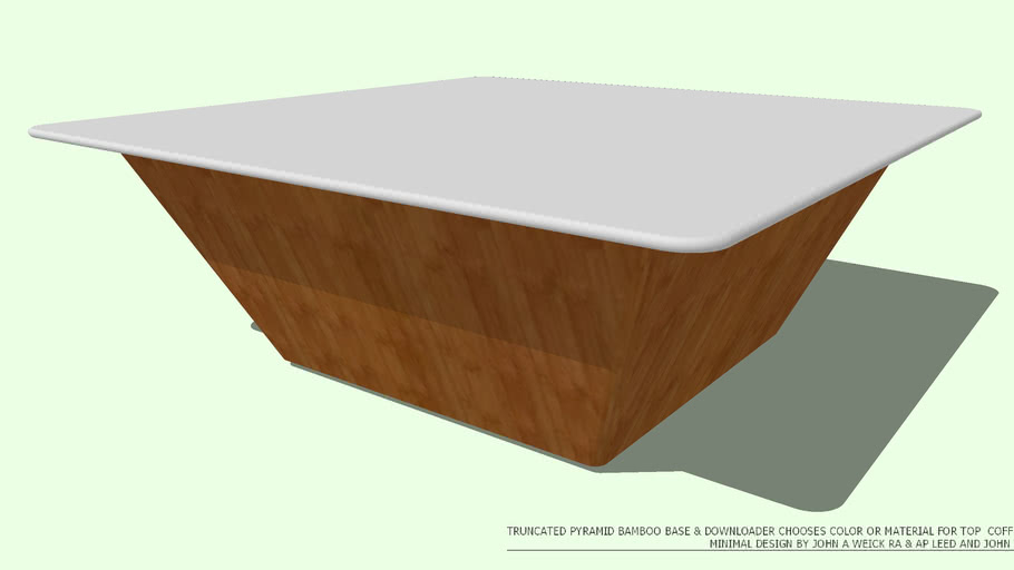 COFFEE TABLE BAMBOO TRUNCATED PYRAMID 42 TOP NO COLOR BY JOHN A WEICK RA