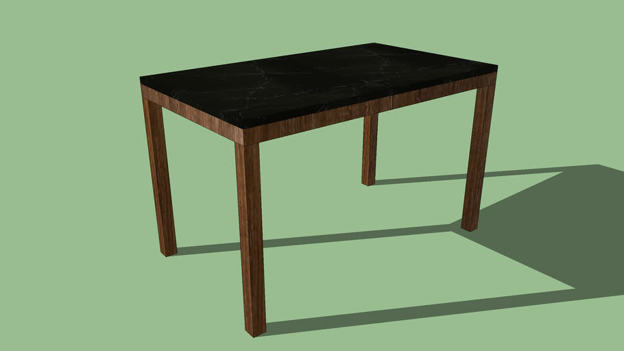 Crate & Barrel Black Marble Top/ Elm Base Parsons Dining Tables