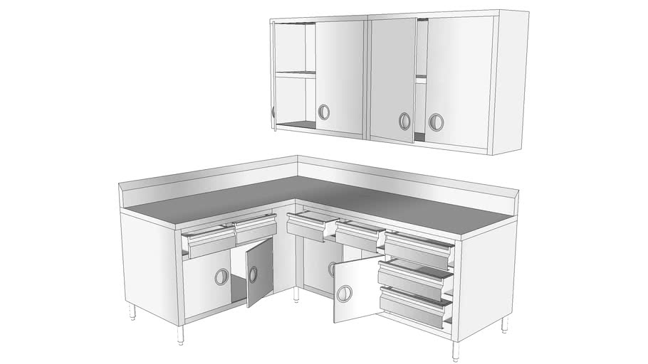 Stainless Steel Kitchen Cabinets 3d, Stainless Steel Kitchen Cabinet