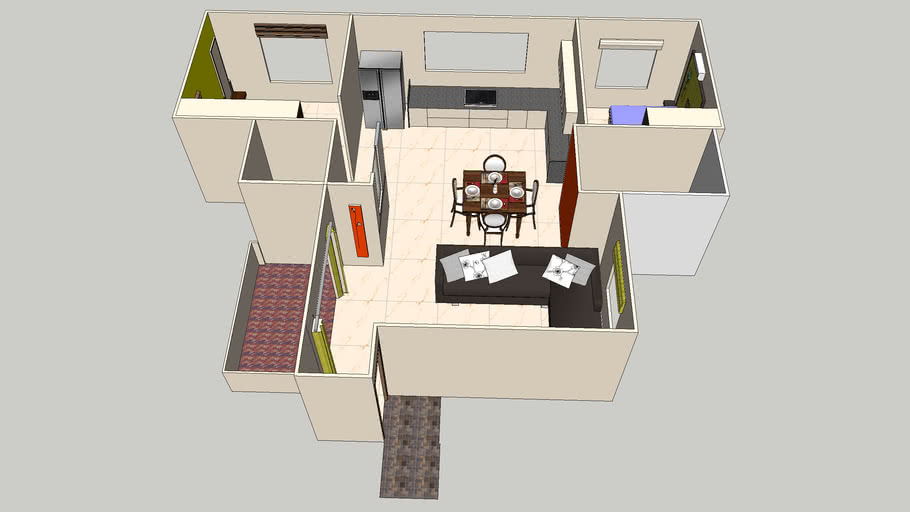 2bhk Flats Interior Design In Pune 3d Warehouse