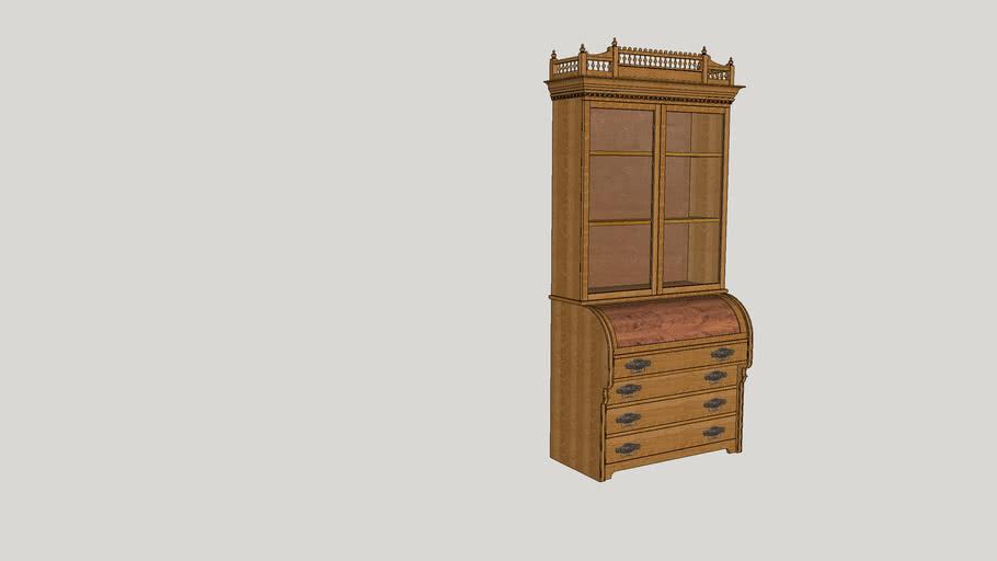 Antique Cylinder Roll Top Secretary Desk 3d Warehouse