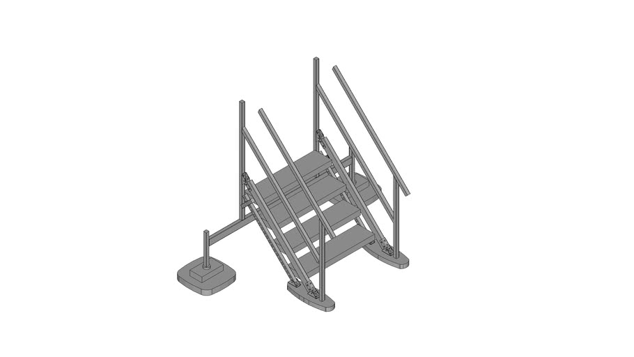 Walraven BIS Yeti® -  (HS-type) high stairs module to combine with Straight Platform, H80_W100_A45