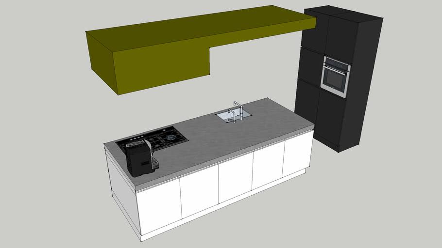Keuken met gaskookplaat en plafondafzuigkap