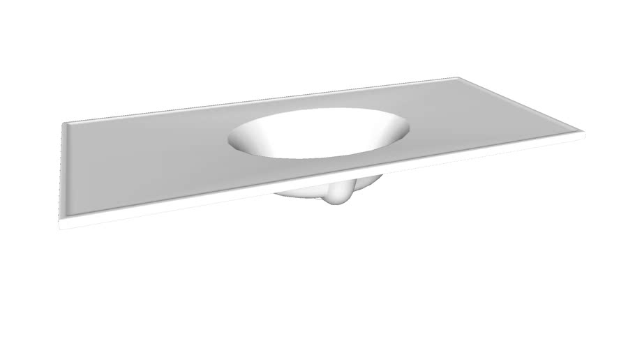 """K-2891-1 Ceramic/Impressions(R) 49"""" oval vanity-top bathroom sink with single faucet hole"""
