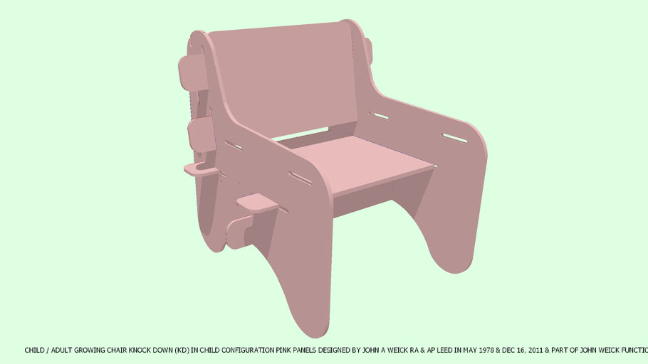 CHAIR CHILD GROWING KD PINK PANELS DESIGNED BY JOHN A WEICK RA
