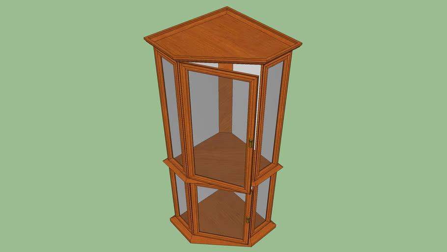Vintage Corner Wooden China Cabinet