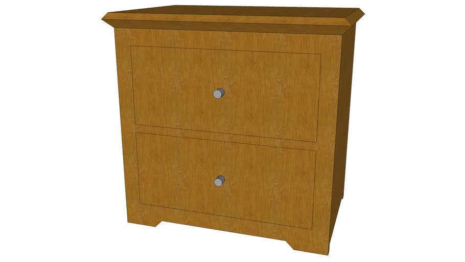 Nightstand 2 drawer thin