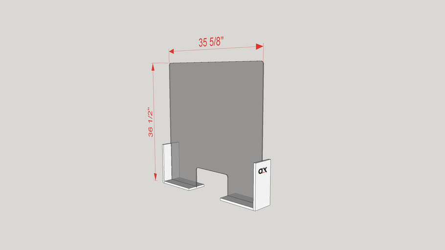 COVID-19 Countertop Safety Shield 36x36 AX03-36