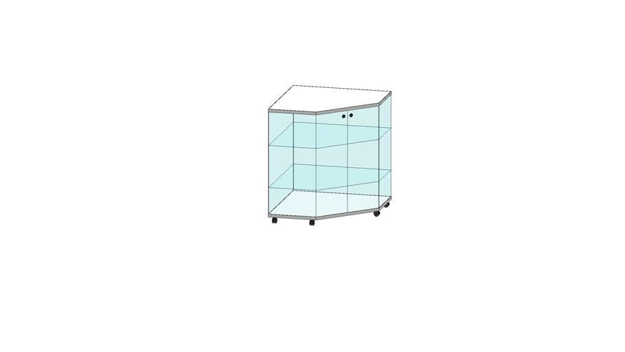 Comptoir vitrine d'angle en verre trempé