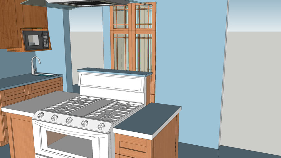 Yates kitchen with stove on island and built-in cabinets, updated