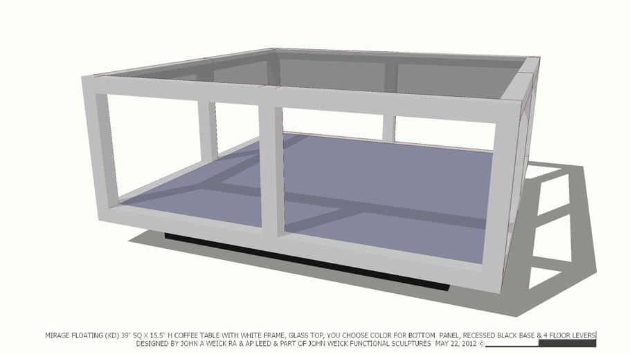 Table Coffee 39sq Wt Frame Gl Top You
