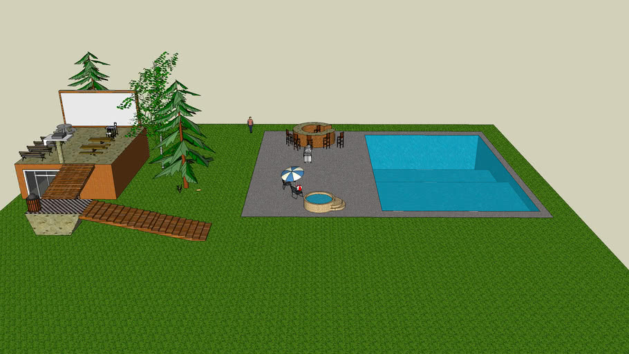 awesome back yard with pool a small house outdoor movie theater wi-fi mac book with still some land