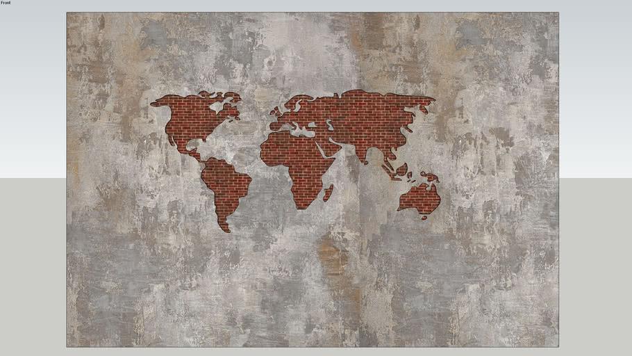 WALL DECORATION ( CONCRETE WORLD MAP)