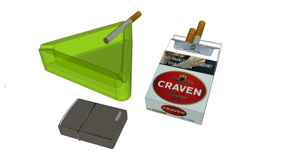 Ashtray + Cigarette + Zippo