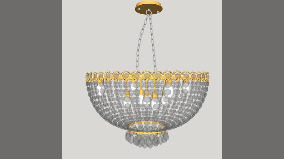 Plafon de Cristal Urano Dourado 9 Lâmpadas PL10612-9.000